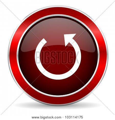 rotate red circle glossy web icon, round button with metallic border