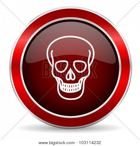 skull red circle glossy web icon, round button with metallic border