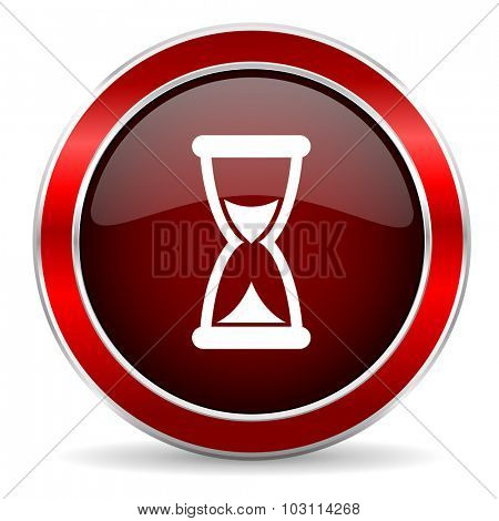 time red circle glossy web icon, round button with metallic border