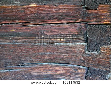 Wooden Beams On Lodge Wall