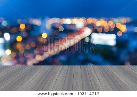 Opening wooden floor, Blur bokeh lights expressway curved