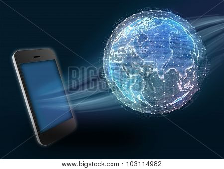 Phone and digital world map of the global telecommunications network
