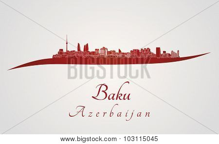 Baku Skyline In Red