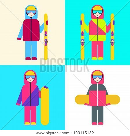 Boy with skis and snowboards. Set of vector illustrations.