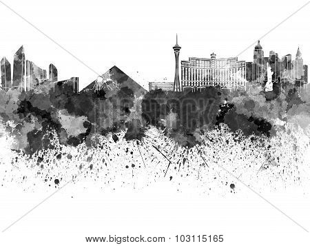 Las Vegas Skyline In Black Watercolor