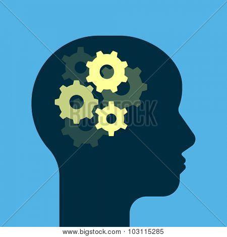 Gears working brain. Get smart. Human head silhouette. Flat style illustration