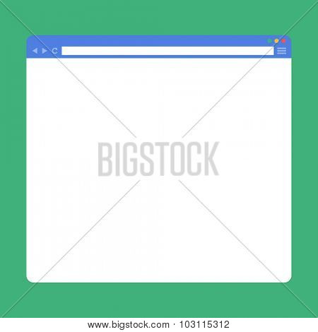 Flat blank browser window. Template for your content