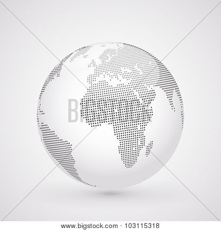 Abstract dotted globe, Central views of Africa