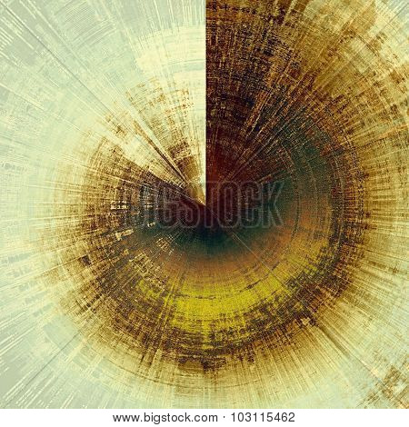 Abstract composition on textured, vintage background with grunge stains. With different color patterns: yellow (beige); brown; green; gray