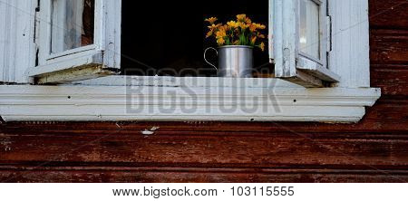 Yellow flowers in the white wooden window