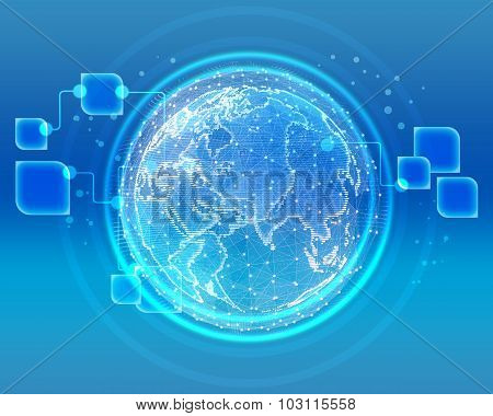Abstract global telecommunications internet network of the world