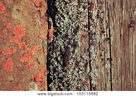 Old weathered wooden planks and stone surface