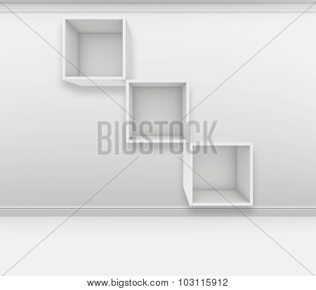 Blank white shelves. 3d render on the background of gray wall