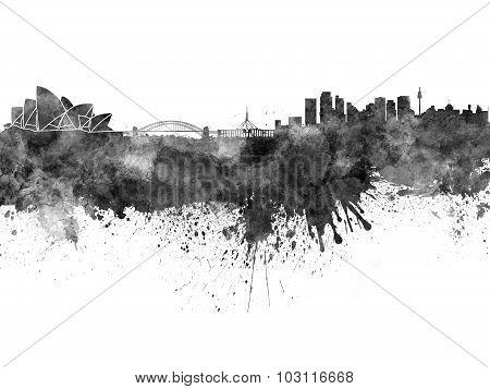 Sydney Skyline In Black Watercolor