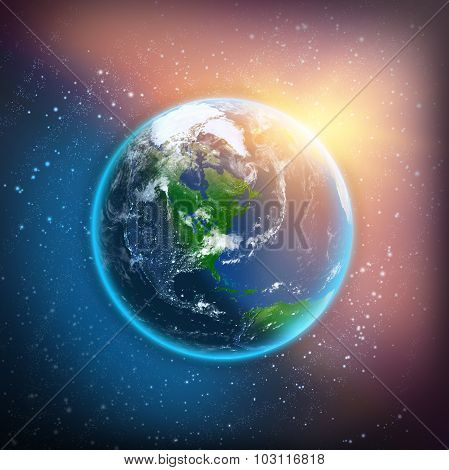 Earth planet on color space background
