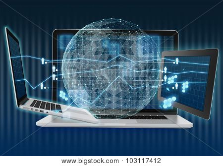 Abstract illustration with laptop and tablet. Digital world map of the global telecommunications net
