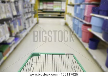Cart In Blurry Defocused Supermarket