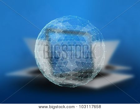 Abstract global telecommunications internet network of the world on blurred laptops background