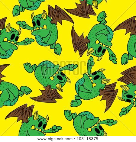 winged monster seamless pattern