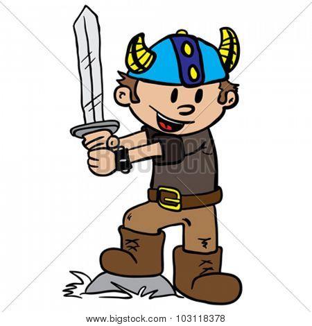 viking boy cartoon illustration