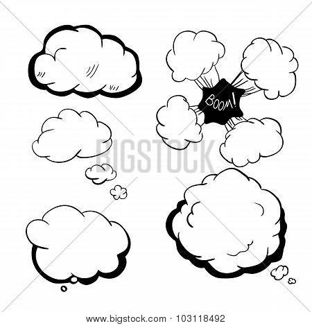 Decorative speech bubbles hand-drawn illustration sketch