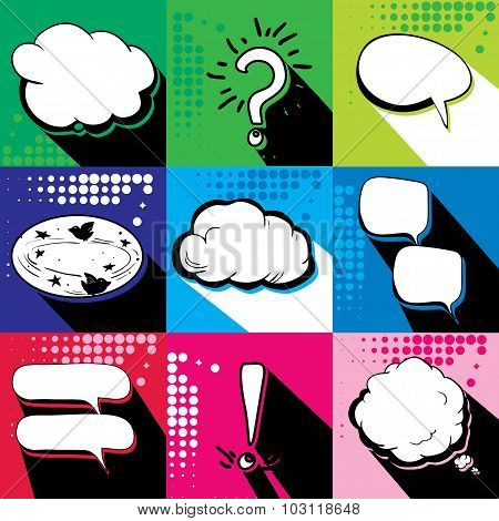 Set of colorful speech bubbles. Pop Art