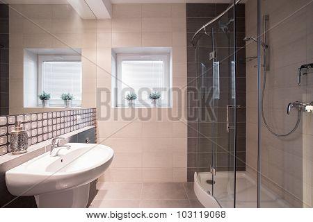 Fancy Bathroom With Big Shower