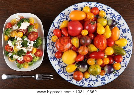 Tomatoes And Salad.