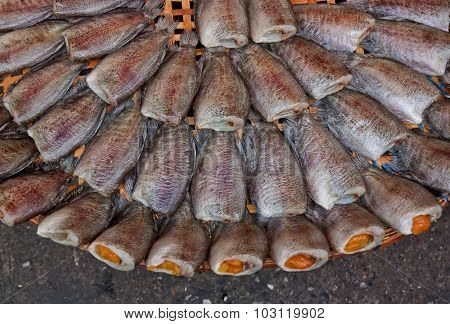 Dried Gourami Fish For Sale In The Market.
