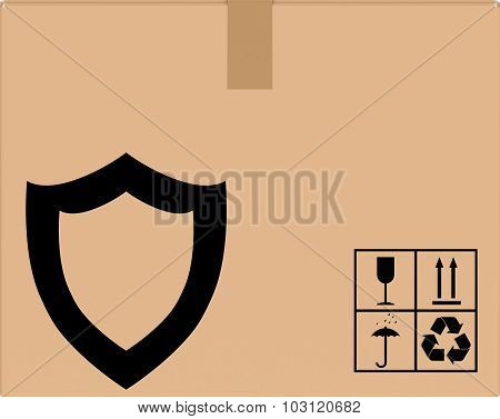 background cardboard box with shield icon.