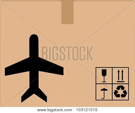 background cardboard box with plane icon.