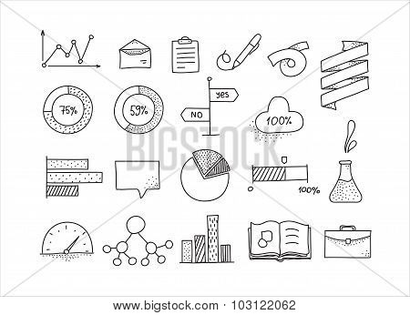 Hand drawn infographic design elements set. Doodle icons for design.
