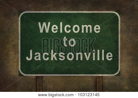Welcome To Jacksonville Roadside Sign Illustration