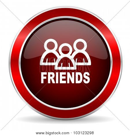 friends red circle glossy web icon, round button with metallic border