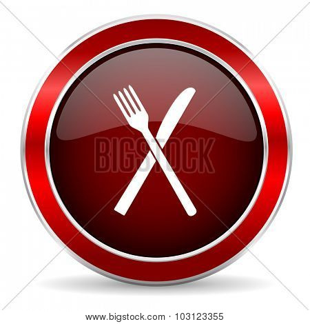restaurant red circle glossy web icon, round button with metallic border