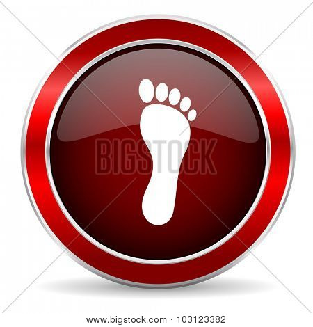 foot red circle glossy web icon, round button with metallic border