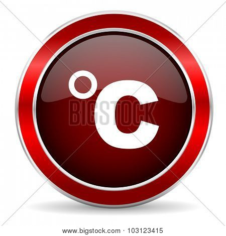 celsius red circle glossy web icon, round button with metallic border