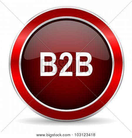 b2b red circle glossy web icon, round button with metallic border
