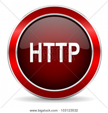 http red circle glossy web icon, round button with metallic border