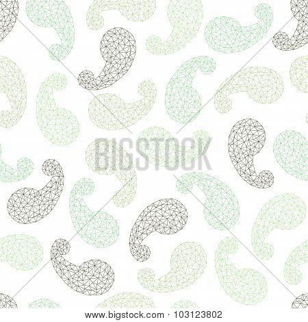 Polygonal paisley background. Seamless pattern.