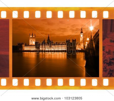 Vintage Old 35Mm Frame Photo Film With Famous And Beautiful View To Big Ben And Westminster Bridge