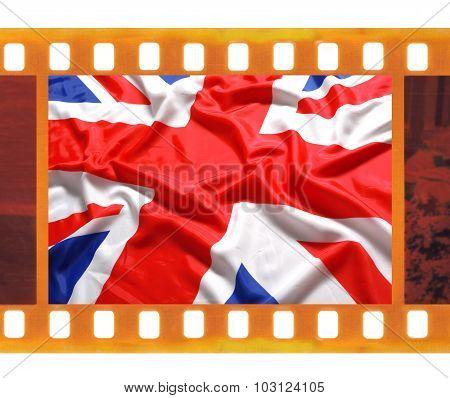 Vintage Old 35Mm Frame Photo Film With Uk, British Flag, Union Jack
