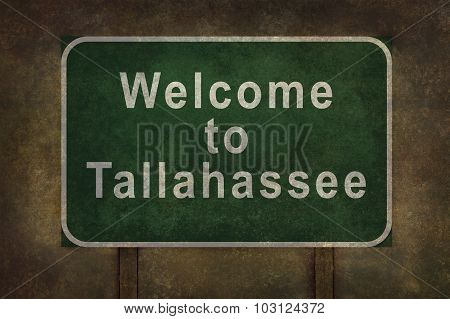 Welcome To Tallahassee Roadside Sign Illustration