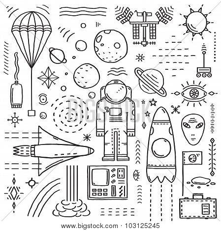 Space Planets Stars Cosmonaut Design Monochrome Elements Line Art Collection