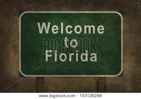 Welcome To Florida Roadside Sign Illustration