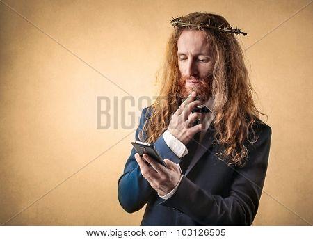 Weird businessman checking his smartphone