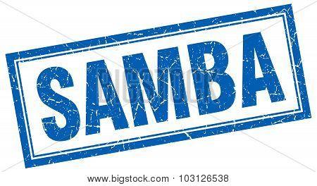 Samba Blue Square Grunge Stamp On White