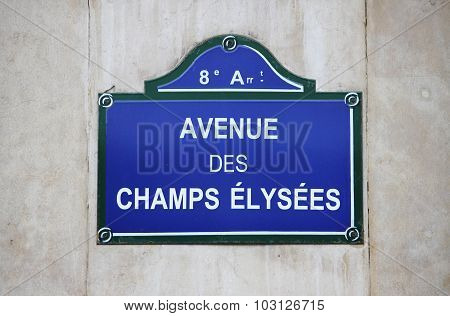 Champs Elysees street sign in Paris