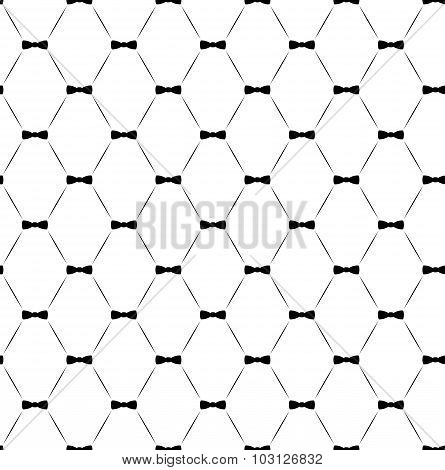 Tie Bow Vector Seamless Pattern, Monochrome.