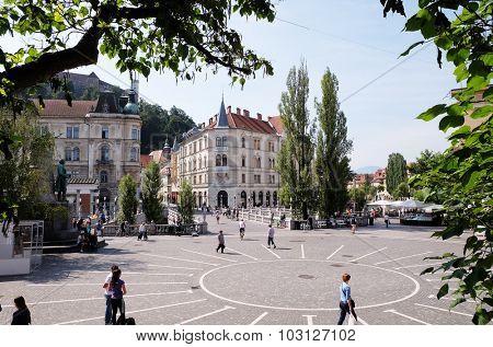 LJUBLJANA, SLOVENIA - JUNE 30: The main square in central part of Ljubljana, Slovenia on June 30, 2015